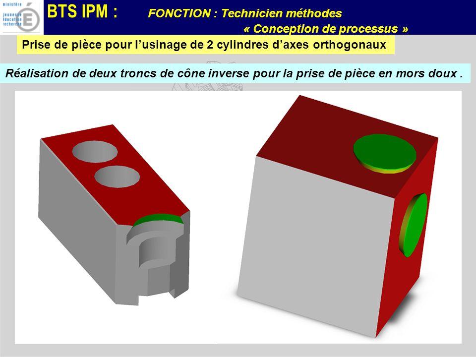 BTS IPM : FONCTION : Technicien méthodes « Conception de processus » Prise de pièce pour lusinage de 2 cylindres daxes orthogonaux Réalisation de deux
