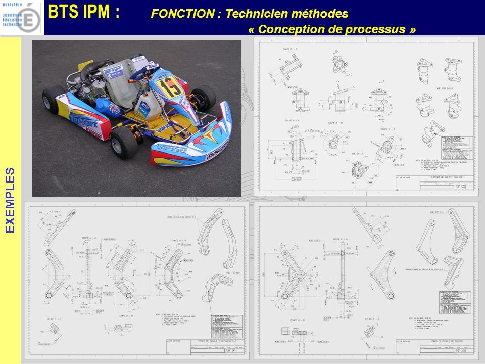 BTS IPM : FONCTION : Technicien méthodes « Conception de processus » EXEMPLES
