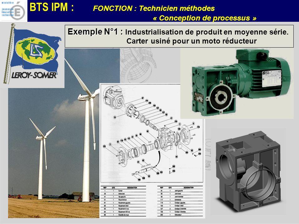 BTS IPM : FONCTION : Technicien méthodes « Conception de processus » Exemple N°1 : Exemple N°1 : Industrialisation de produit en moyenne série. Carter