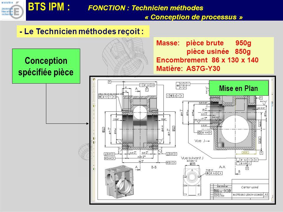 BTS IPM : FONCTION : Technicien méthodes « Conception de processus » - Le Technicien méthodes reçoit : Conception spécifiée pièce Définition Numérique