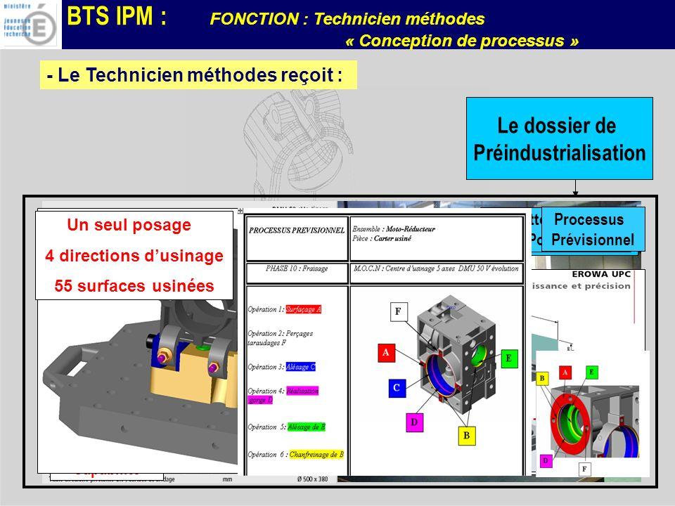 BTS IPM : FONCTION : Technicien méthodes « Conception de processus » - Le Technicien méthodes reçoit : Le dossier de Préindustrialisation Moyen de Pro