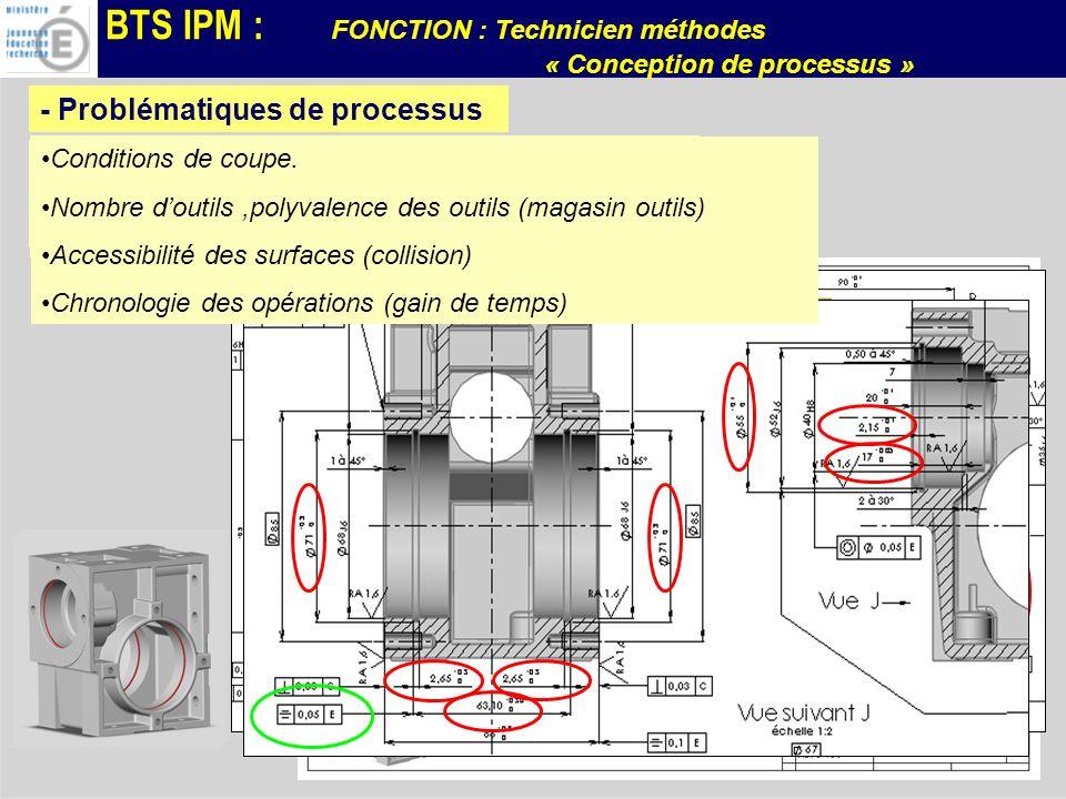 BTS IPM : FONCTION : Technicien méthodes « Conception de processus » Phase 10 Phase 30 Phase 20 Phase 40 Etat 20 Etat 30 Etat 40 Etat 10 Travail aux chocs en tournage Choix des outils pour la réalisation de la forme intérieure Etats de surface Ph10 CU 4 / 5axes Ph20 Tour 2 axes Ph30 Tour 2 axes Ph40 CU 4 / 5 axes - Processus