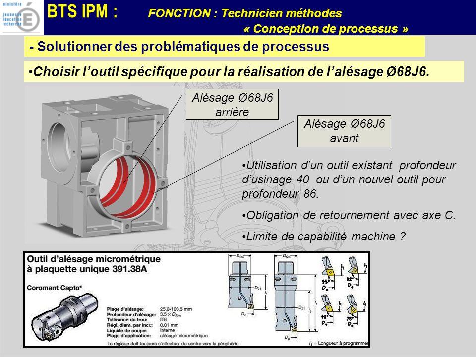 BTS IPM : FONCTION : Technicien méthodes « Conception de processus » Quantité de pièces à produire: 2000 p / mois.