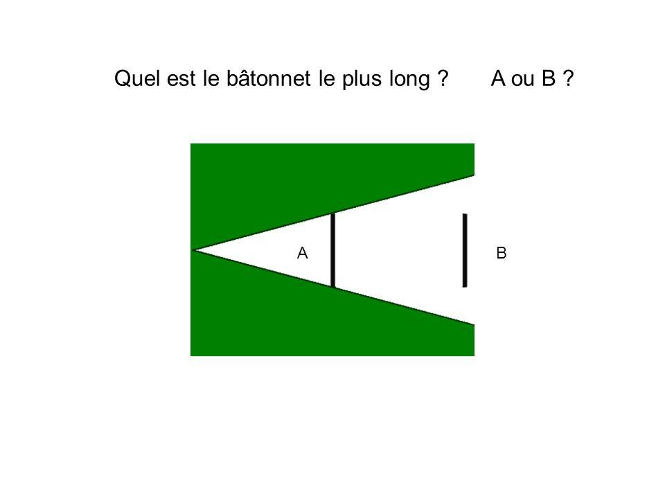 Quel est le bâtonnet le plus long A ou B AB