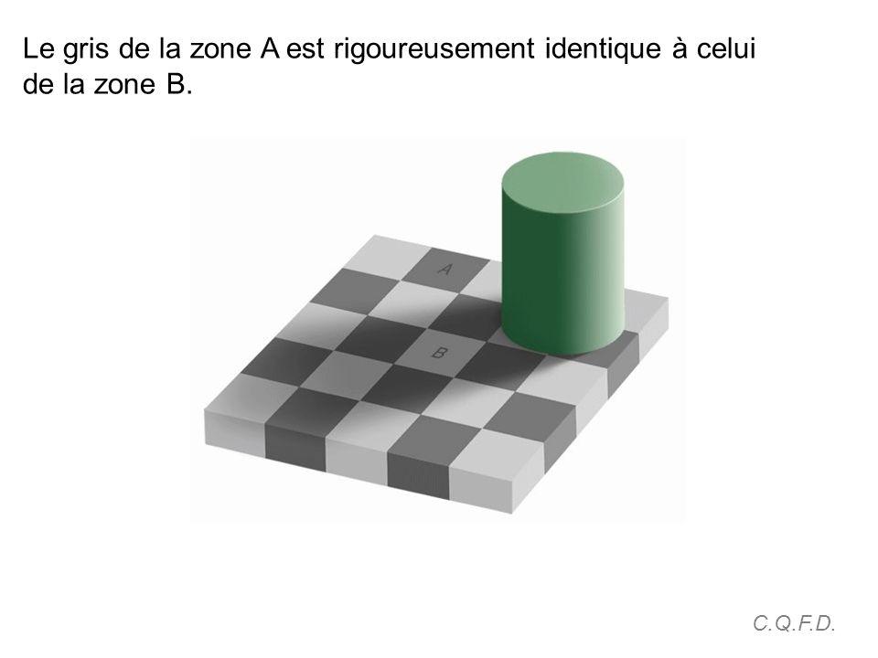 Le gris de la zone A est rigoureusement identique à celui de la zone B. C.Q.F.D.