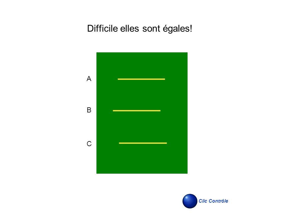 Difficile elles sont égales! A B C Clic Contrôle