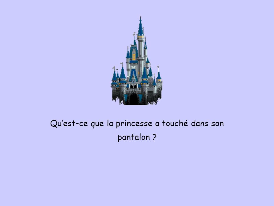 Quest-ce que la princesse a touché dans son pantalon ?