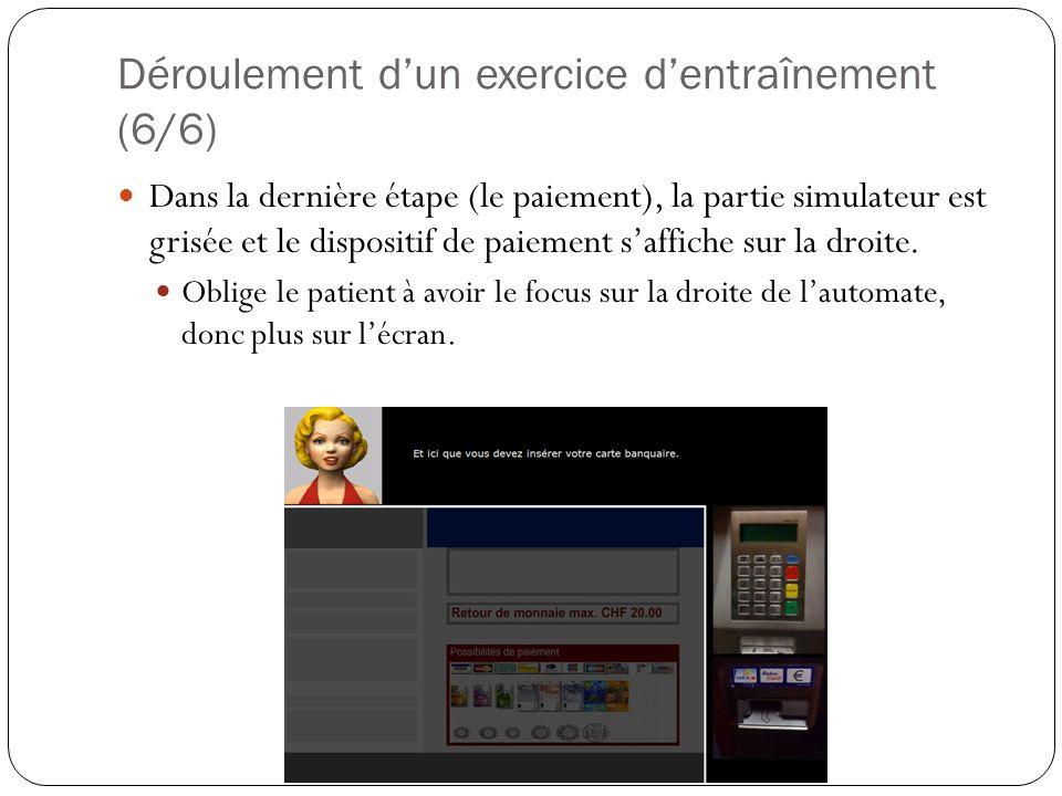Déroulement dun exercice dentraînement (6/6) Dans la dernière étape (le paiement), la partie simulateur est grisée et le dispositif de paiement saffiche sur la droite.