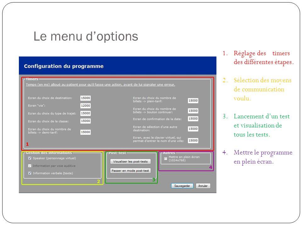 Le menu doptions 1.Réglage des timers des différentes étapes.