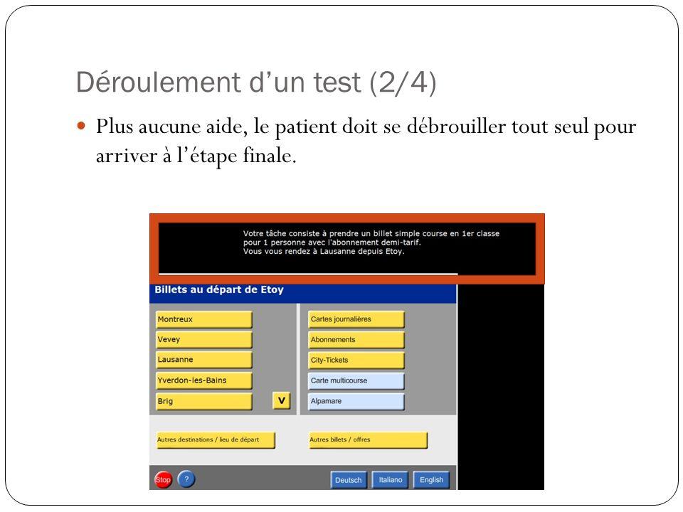 Déroulement dun test (2/4) Plus aucune aide, le patient doit se débrouiller tout seul pour arriver à létape finale.