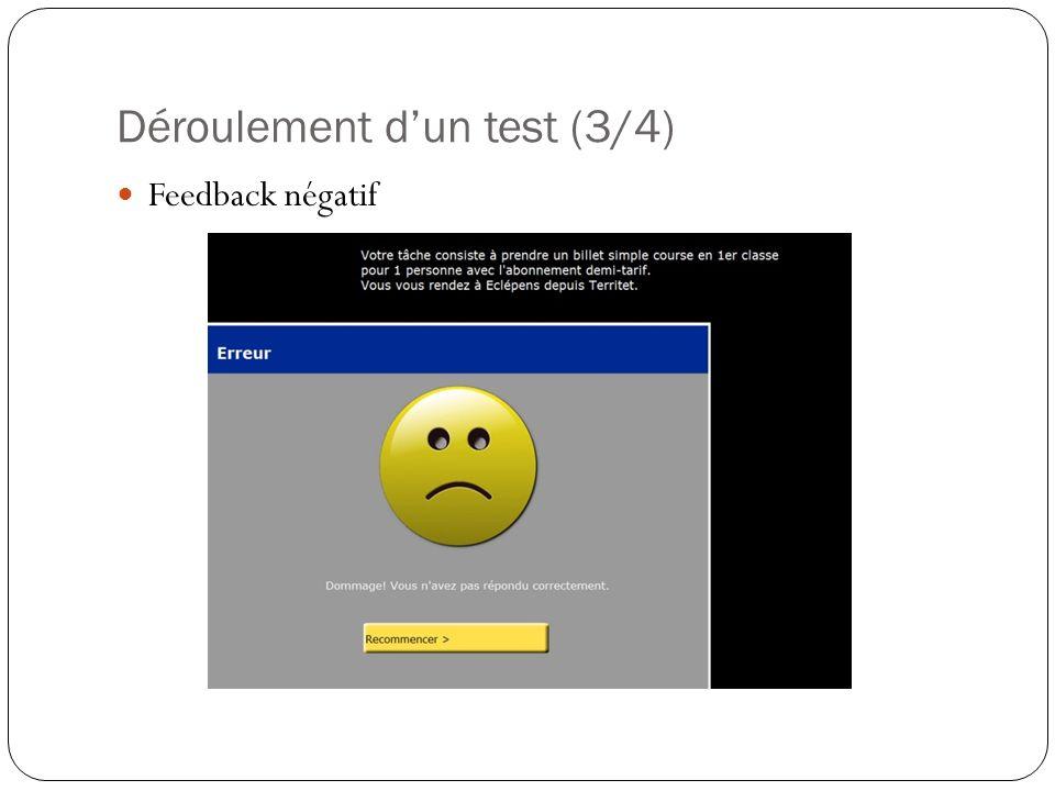 Déroulement dun test (3/4) Feedback négatif