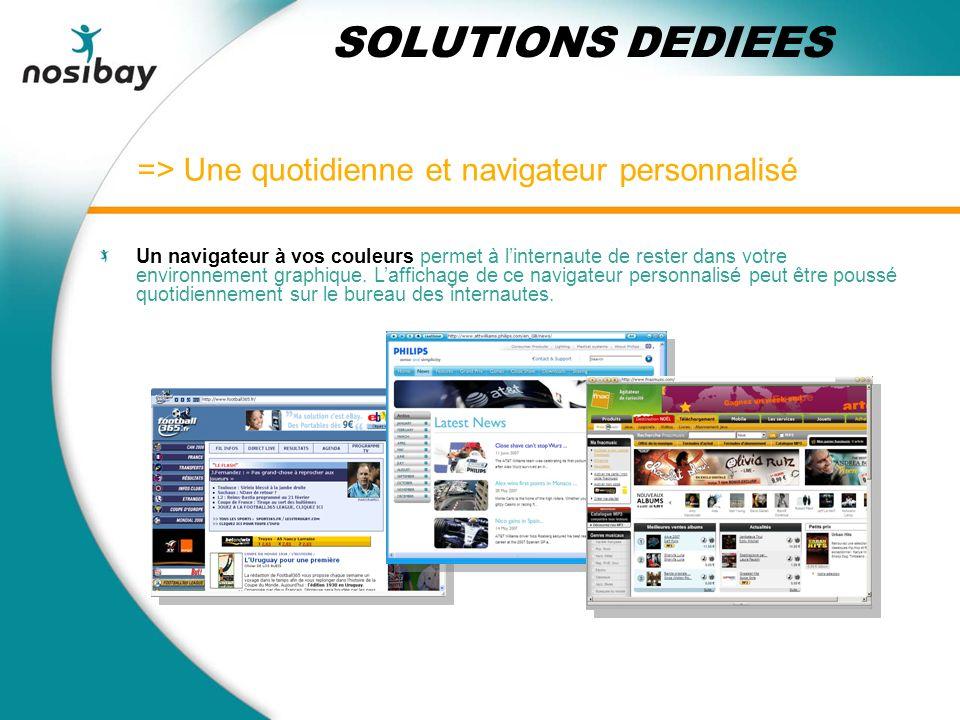 => Une quotidienne et navigateur personnalisé SOLUTIONS DEDIEES Un navigateur à vos couleurs permet à linternaute de rester dans votre environnement graphique.
