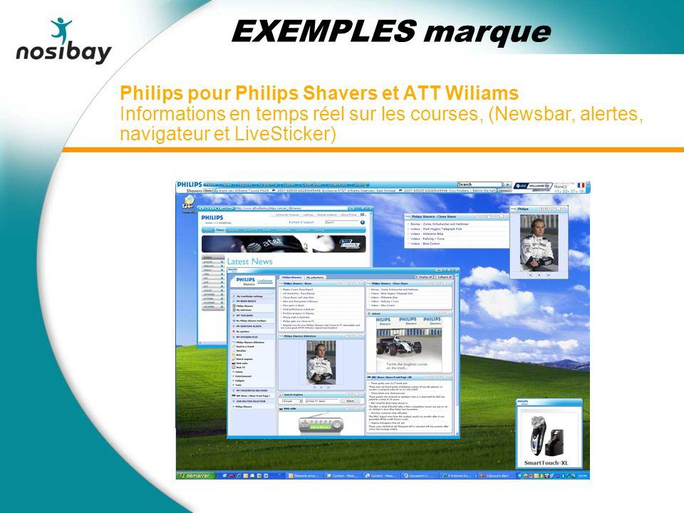 Philips pour Philips Shavers et ATT Wiliams Informations en temps réel sur les courses, (Newsbar, alertes, navigateur et LiveSticker) EXEMPLES marque