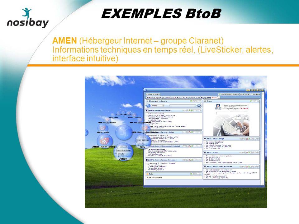 AMEN (Hébergeur Internet – groupe Claranet) Informations techniques en temps réel, (LiveSticker, alertes, interface intuitive) EXEMPLES BtoB