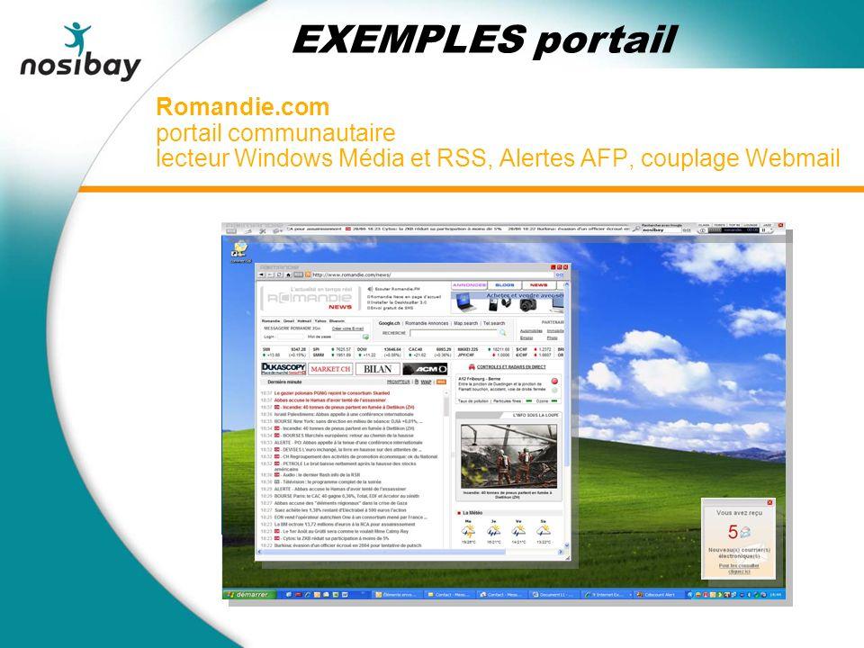 Romandie.com portail communautaire lecteur Windows Média et RSS, Alertes AFP, couplage Webmail EXEMPLES portail
