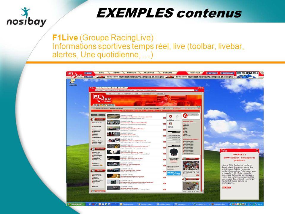 F1Live (Groupe RacingLive) Informations sportives temps réel, live (toolbar, livebar, alertes, Une quotidienne, …) EXEMPLES contenus
