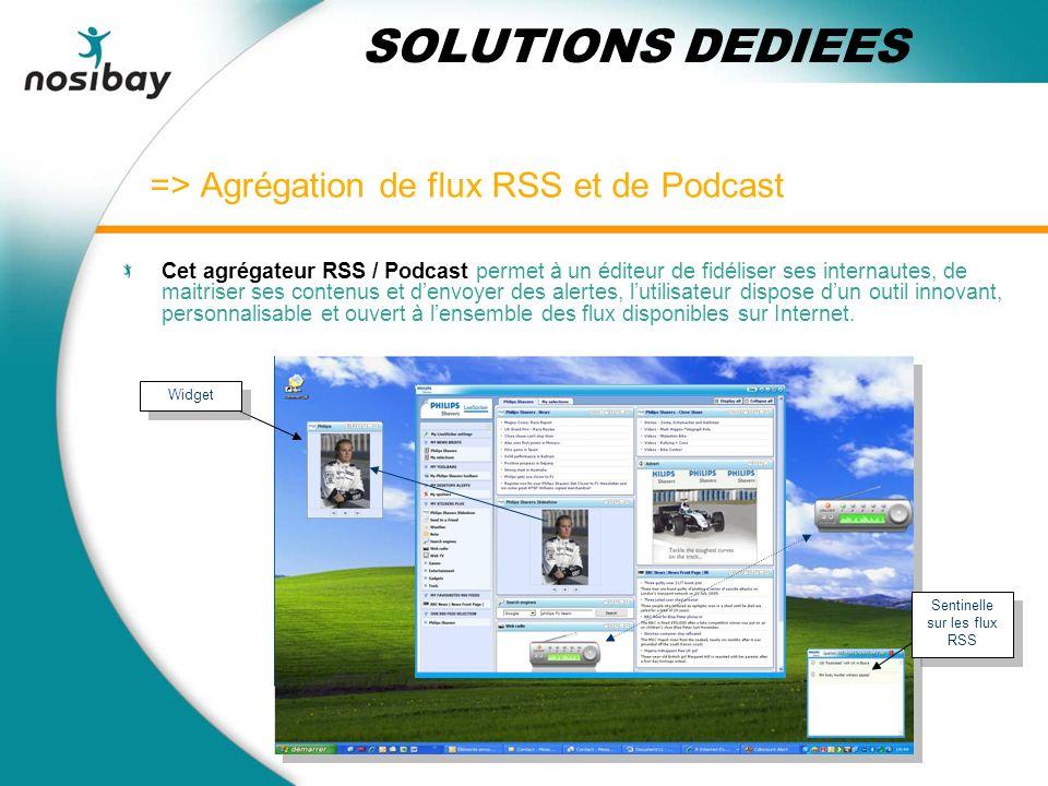 => Agrégation de flux RSS et de Podcast Cet agrégateur RSS / Podcast permet à un éditeur de fidéliser ses internautes, de maitriser ses contenus et denvoyer des alertes, lutilisateur dispose dun outil innovant, personnalisable et ouvert à lensemble des flux disponibles sur Internet.