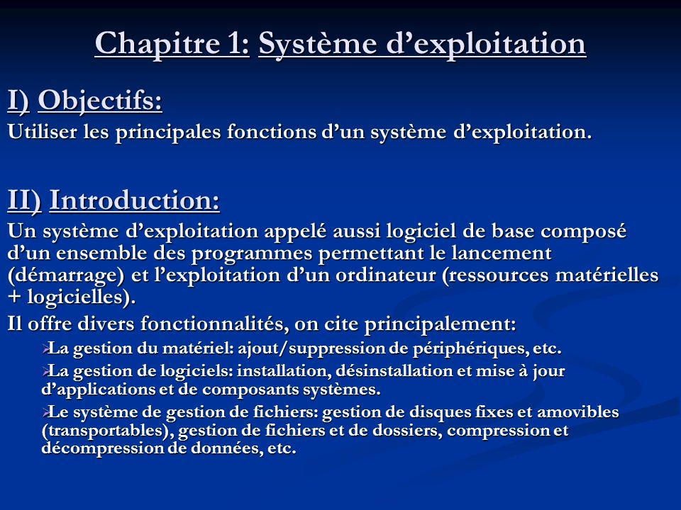 Chapitre 1: Système dexploitation Exemples de systèmes dexploitation: Windows ( 95, 98, 2000,XP, Vista, Windows 7…) Windows ( 95, 98, 2000,XP, Vista, Windows 7…) Linux Linux Unix Unix MS_DOS MS_DOS MAC_OS MAC_OS...