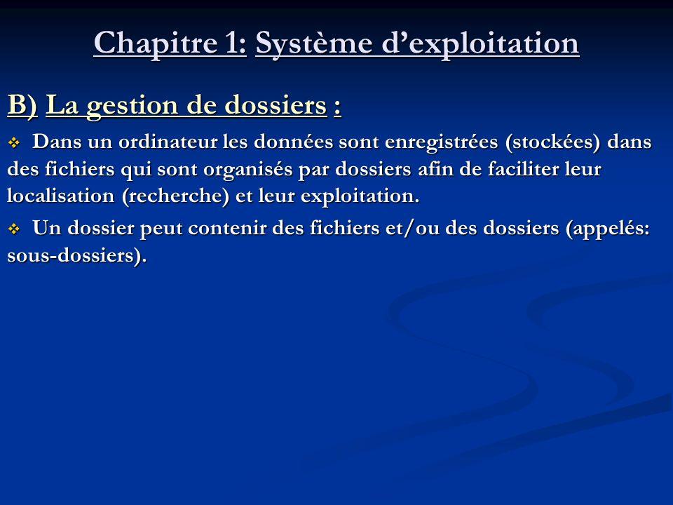 Chapitre 1: Système dexploitation B) La gestion de dossiers : Dans un ordinateur les données sont enregistrées (stockées) dans des fichiers qui sont o