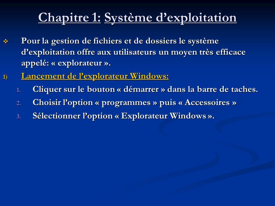 Chapitre 1: Système dexploitation Pour la gestion de fichiers et de dossiers le système dexploitation offre aux utilisateurs un moyen très efficace ap