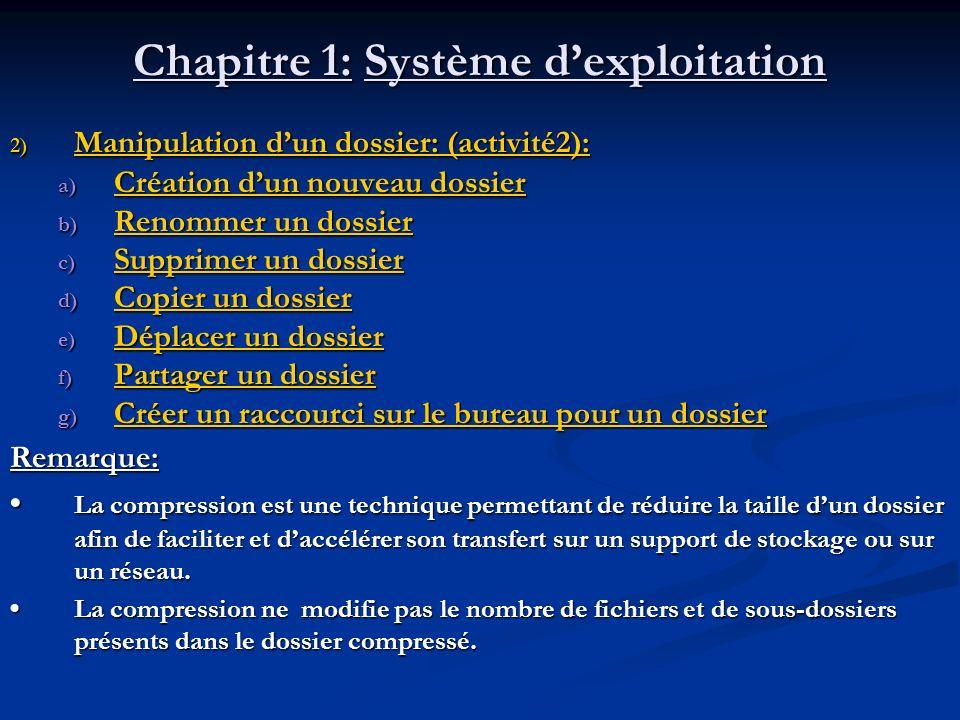 Chapitre 1: Système dexploitation 2) Manipulation dun dossier: (activité2): a) Création dun nouveau dossier Création dun nouveau dossier Création dun