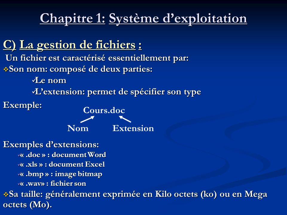 Chapitre 1: Système dexploitation C) La gestion de fichiers : Un fichier est caractérisé essentiellement par: Un fichier est caractérisé essentielleme