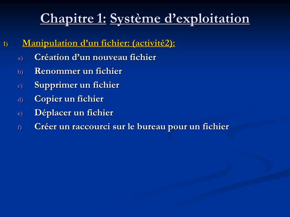 Chapitre 1: Système dexploitation 1) Manipulation dun fichier: (activité2): a) Création dun nouveau fichier b) Renommer un fichier c) Supprimer un fic