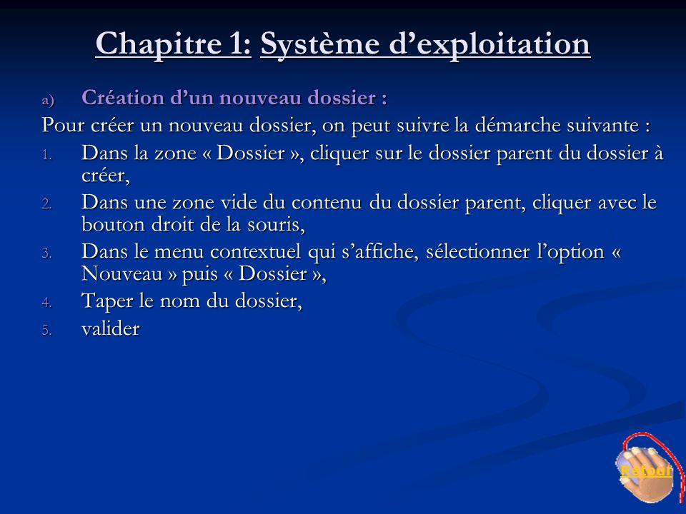 Chapitre 1: Système dexploitation a) Création dun nouveau dossier : Pour créer un nouveau dossier, on peut suivre la démarche suivante : 1. Dans la zo
