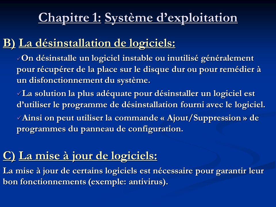 Chapitre 1: Système dexploitation a) Création dun nouveau dossier : Pour créer un nouveau dossier, on peut suivre la démarche suivante : 1.