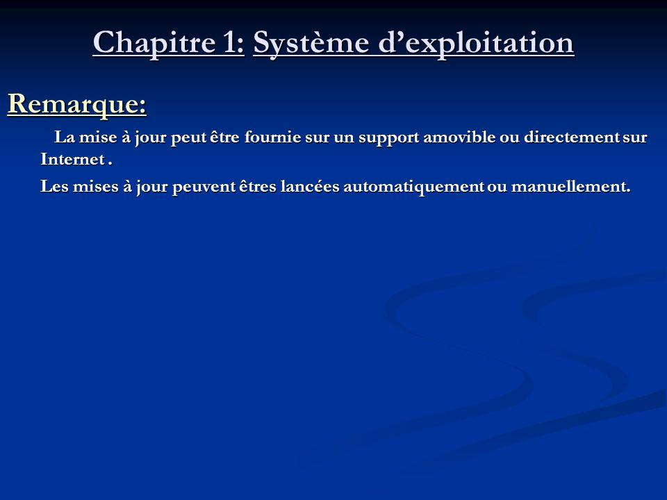 Chapitre 1: Système dexploitation Remarque: La mise à jour peut être fournie sur un support amovible ou directement sur Internet. La mise à jour peut