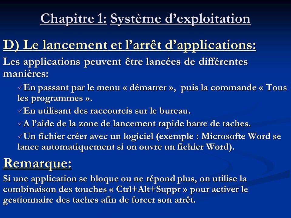 Chapitre 1: Système dexploitation D) Le lancement et larrêt dapplications: Les applications peuvent être lancées de différentes manières: En passant p