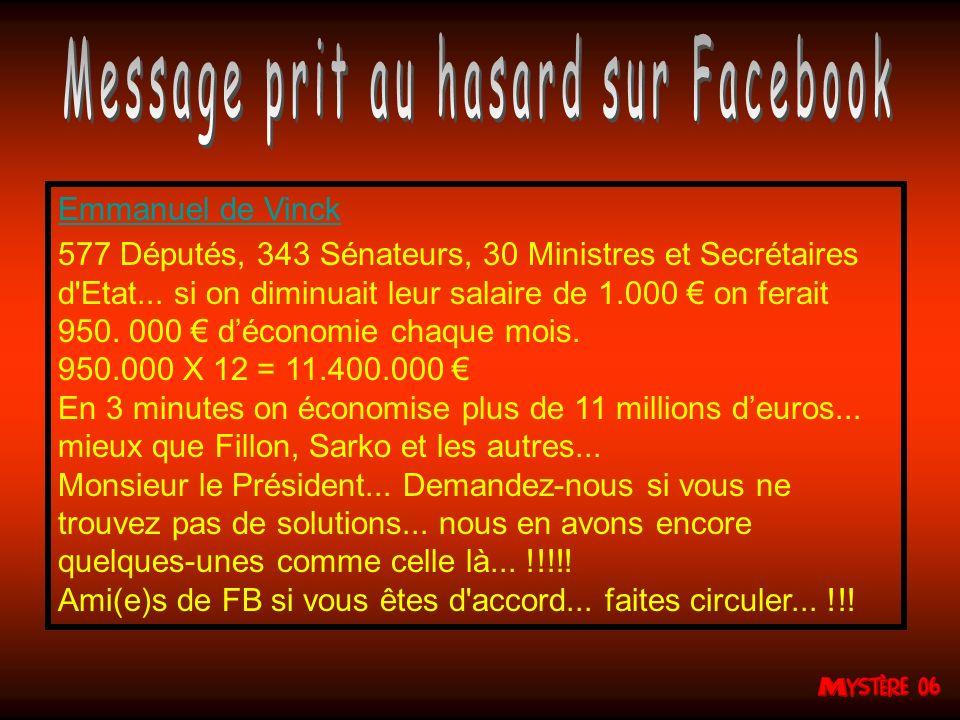 Emmanuel de Vinck 577 Députés, 343 Sénateurs, 30 Ministres et Secrétaires d Etat...