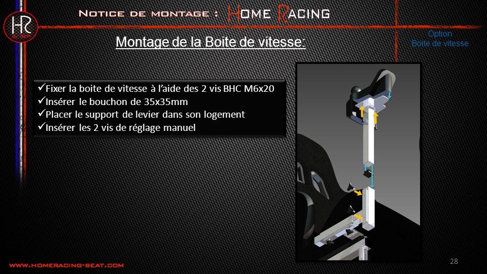 28 Fixer la boite de vitesse à laide des 2 vis BHC M6x20 Insérer le bouchon de 35x35mm Placer le support de levier dans son logement Insérer les 2 vis de réglage manuel Fixer la boite de vitesse à laide des 2 vis BHC M6x20 Insérer le bouchon de 35x35mm Placer le support de levier dans son logement Insérer les 2 vis de réglage manuel Montage de la Boite de vitesse: Option Boite de vitesse