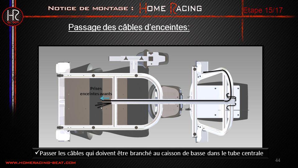 Prises enceintes avants 44 Passage des câbles denceintes: Etape 15/17 Passer les câbles qui doivent être branché au caisson de basse dans le tube centrale
