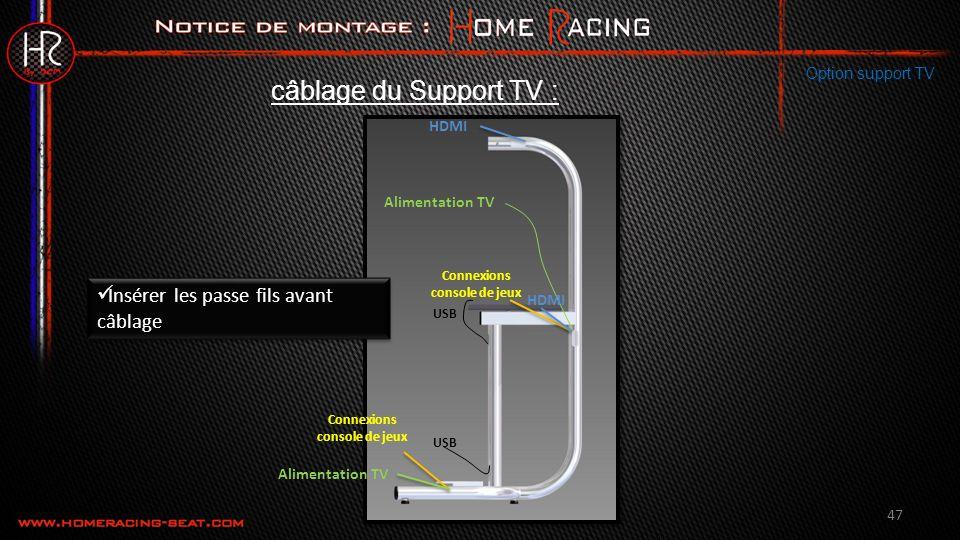 47 Option support TV câblage du Support TV : HDMI Alimentation TV Connexions console de jeux USB Insérer les passe fils avant câblage