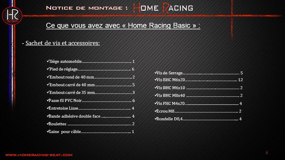 Ce que vous avez avec « Home Racing Basic » : Siège automobile……………………………………….