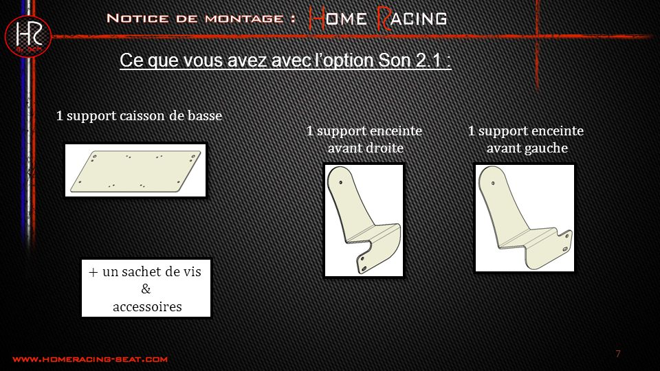 48 Montage du Support TV : Option support TV Placer le support TV Insérer la vis BHC M6x10 Placer le support TV Insérer la vis BHC M6x10 Remarque : fixer les vis avec du frein filet