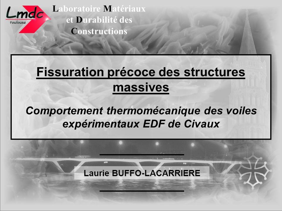 Laboratoire Matériaux et Durabilité des Constructions Laurie BUFFO-LACARRIERE Fissuration précoce des structures massives Comportement thermomécanique