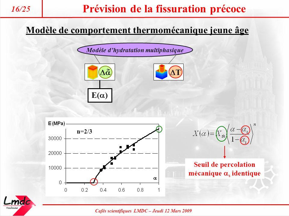 Cafés scientifiques LMDC – Jeudi 12 Mars 2009 Prévision de la fissuration précoce 16/25 T Modèle dhydratation multiphasique Modèle de comportement the