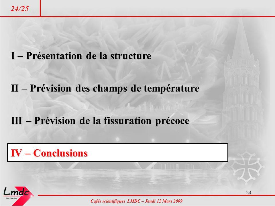 Cafés scientifiques LMDC – Jeudi 12 Mars 2009 24/25 24 IV – Conclusions I – Présentation de la structure II – Prévision des champs de température III