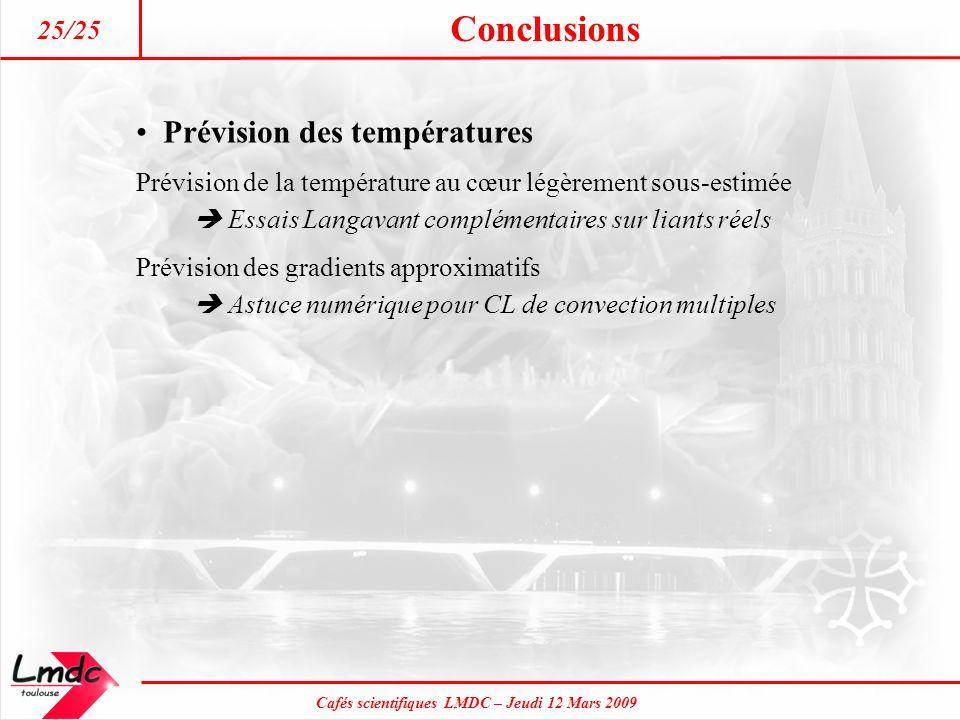 Cafés scientifiques LMDC – Jeudi 12 Mars 2009 Conclusions 25/25 Prévision des températures Prévision de la température au cœur légèrement sous-estimée