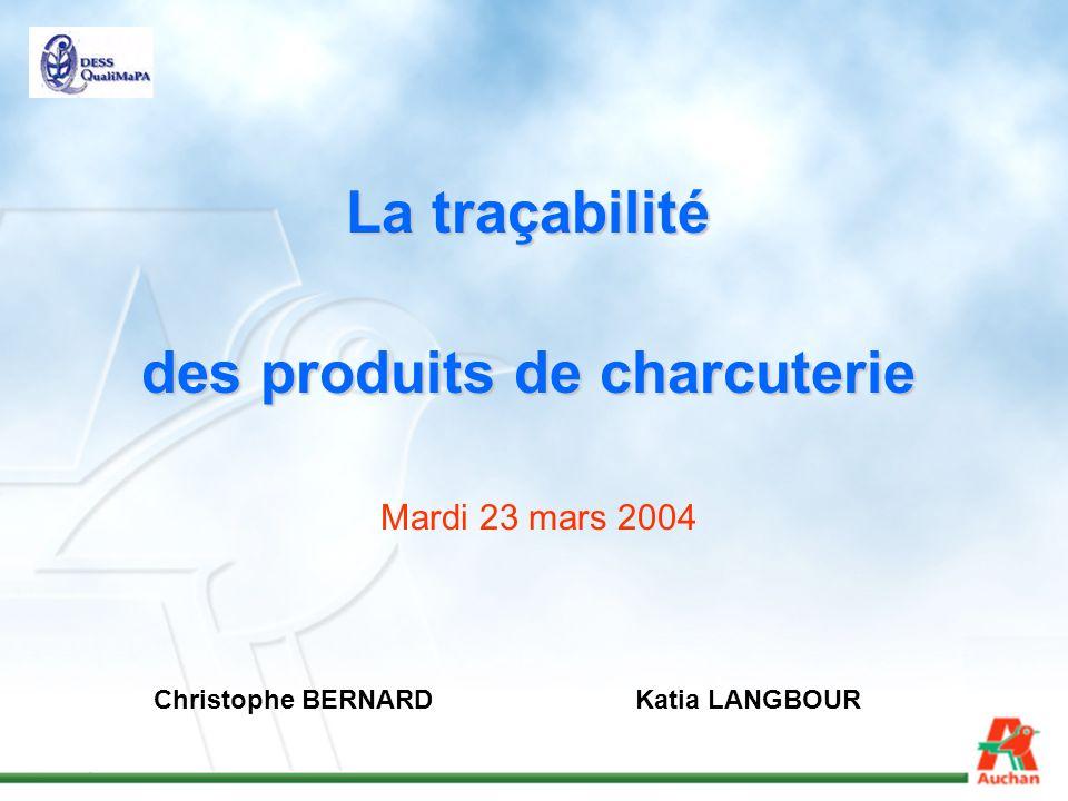 La traçabilité des produits de charcuterie Christophe BERNARDKatia LANGBOUR Mardi 23 mars 2004