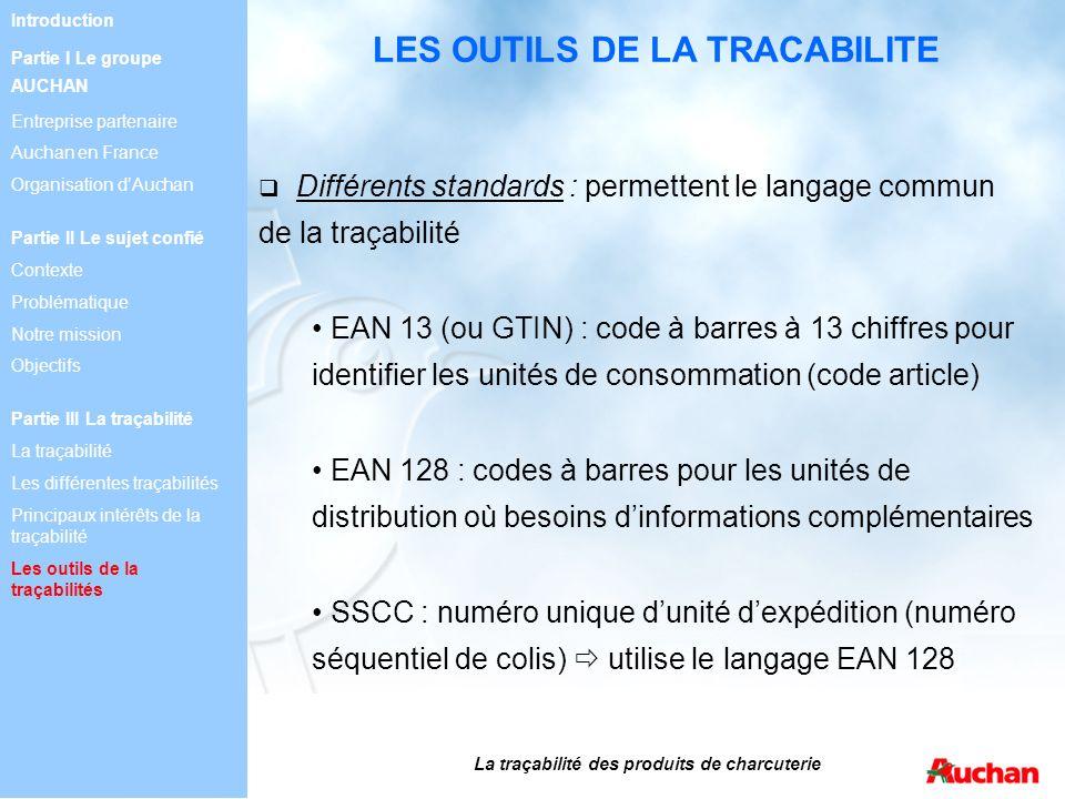Différents standards : permettent le langage commun de la traçabilité EAN 13 (ou GTIN) : code à barres à 13 chiffres pour identifier les unités de con