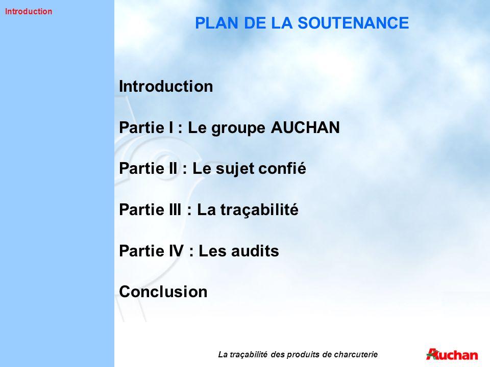 PLAN DE LA SOUTENANCE Introduction Partie I : Le groupe AUCHAN Partie II : Le sujet confié Partie III : La traçabilité Partie IV : Les audits Conclusi