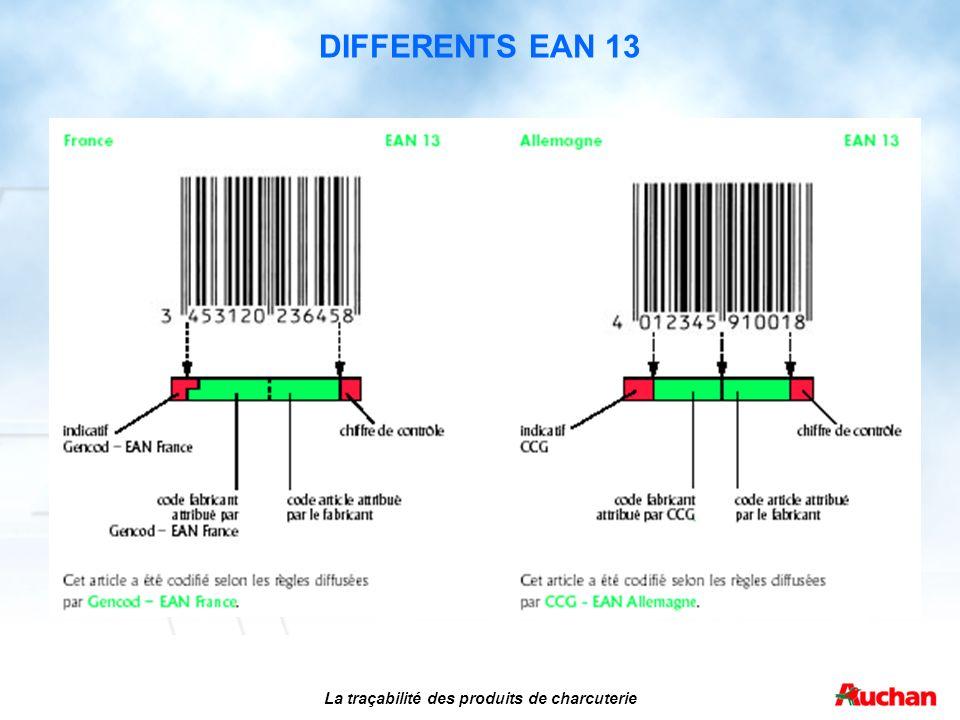 DIFFERENTS EAN 13 La traçabilité des produits de charcuterie