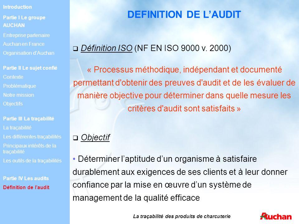 DEFINITION DE LAUDIT Définition ISO (NF EN ISO 9000 v. 2000) « Processus méthodique, indépendant et documenté permettant d'obtenir des preuves d'audit