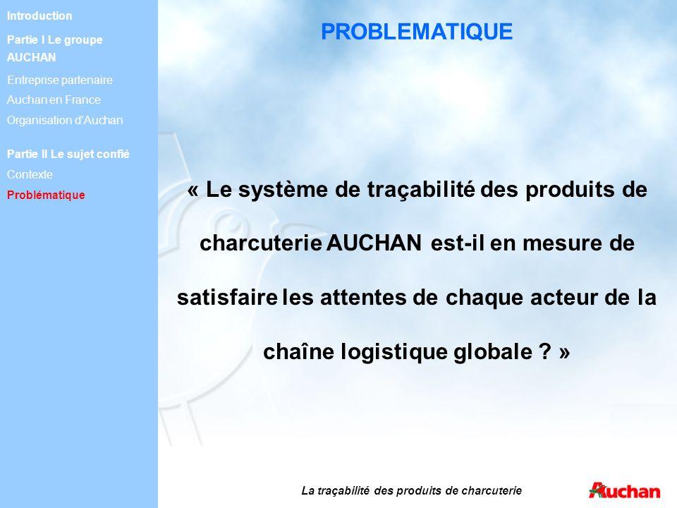 La traçabilité des produits de charcuterie « Le système de traçabilité des produits de charcuterie AUCHAN est-il en mesure de satisfaire les attentes