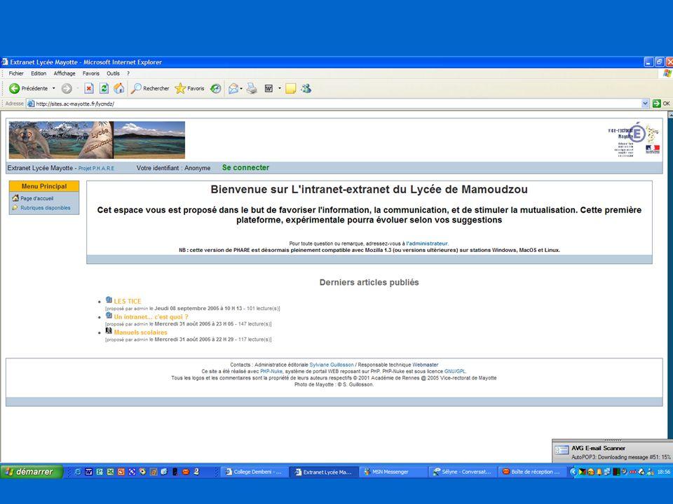 Vice-rectorat de Mayotte Présentation de la plateforme intranet/extranet du lycée de Mamoudzou