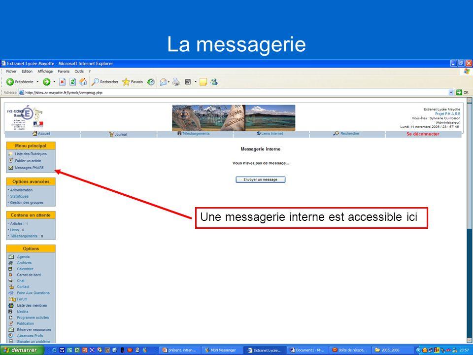 La messagerie Une messagerie interne est accessible ici
