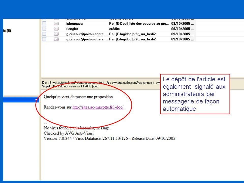 Le dépôt de l'article est également signalé aux administrateurs par messagerie de façon automatique